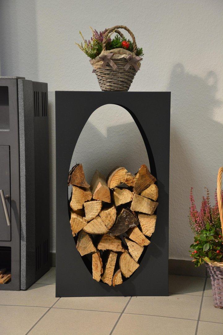 Kaminholzregal metall oval innenbereich regal aus metall - Holzaufbewahrung wohnzimmer ...