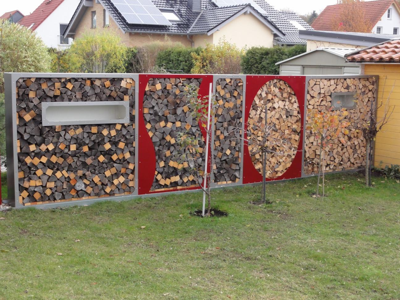 Kaminholzregal metall 1 9 m x 1 2 m farbe nach farbkarte for Garten pool 2m tief
