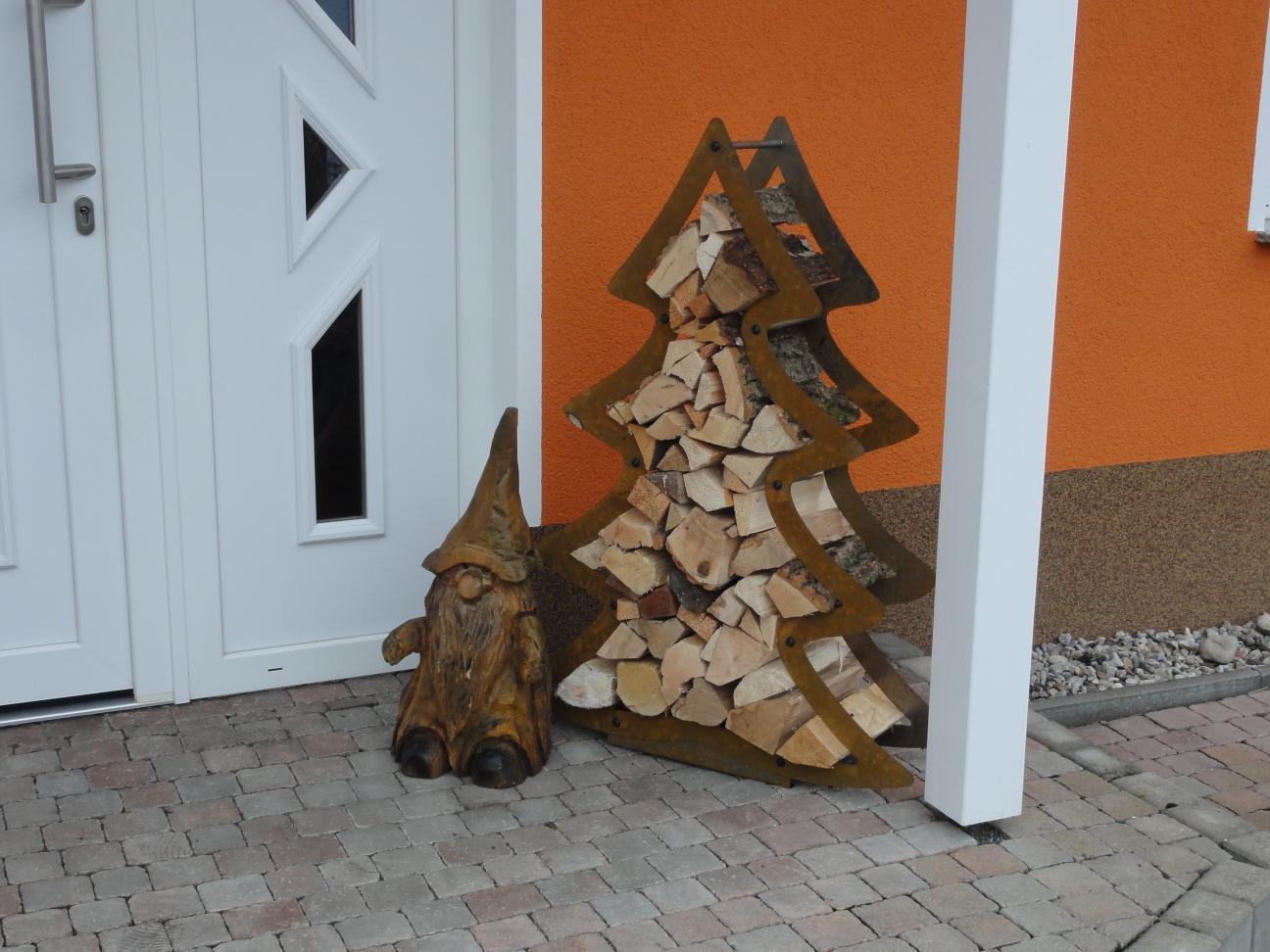 Tannenbaum Edelrost.Kaminholzregal Weihnachtsbaum Tannenbaum Edelrost